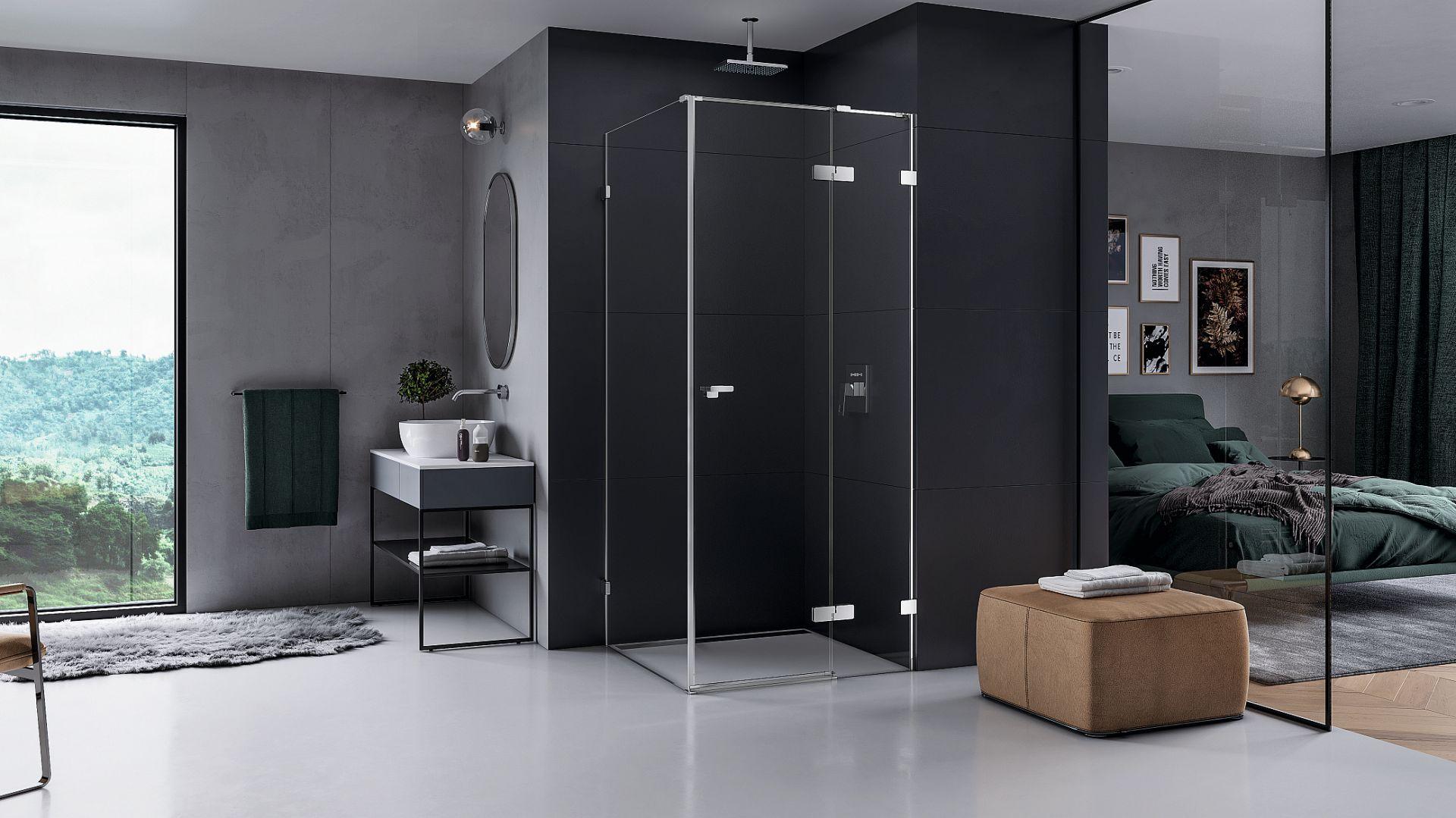 EVENTA – zaprojektowana przez Łukasza Paszkowskiego kabina narożna o wym. 90x90 cm łączy w sobie elegancki minimalizm z niezwykłym komfortem użytkowania. Fot. New Trendy