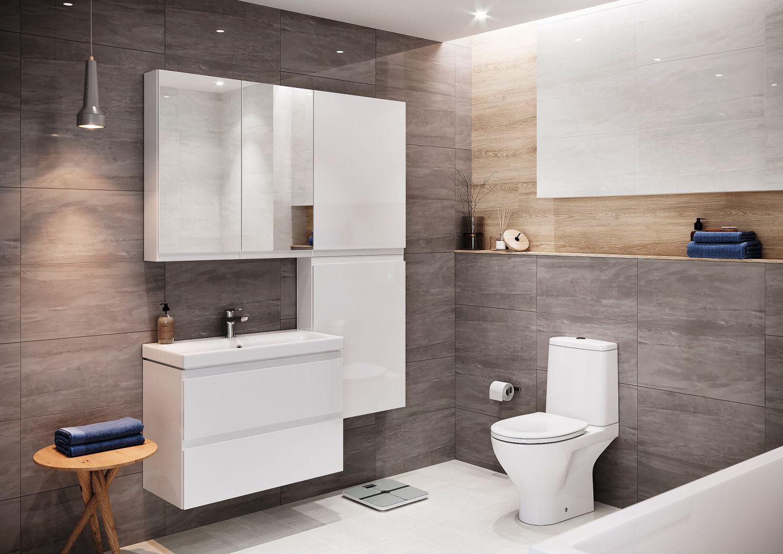 MODUO – wymiary blatów łazienkowych, szafek podblatowych i wiszących, słupków oraz płytkich i głębokich szafek podumywalkowych umożliwiają ich łatwe dopasowanie nawet do z pozoru problematycznych pomieszczeń. Fot. Cersanit