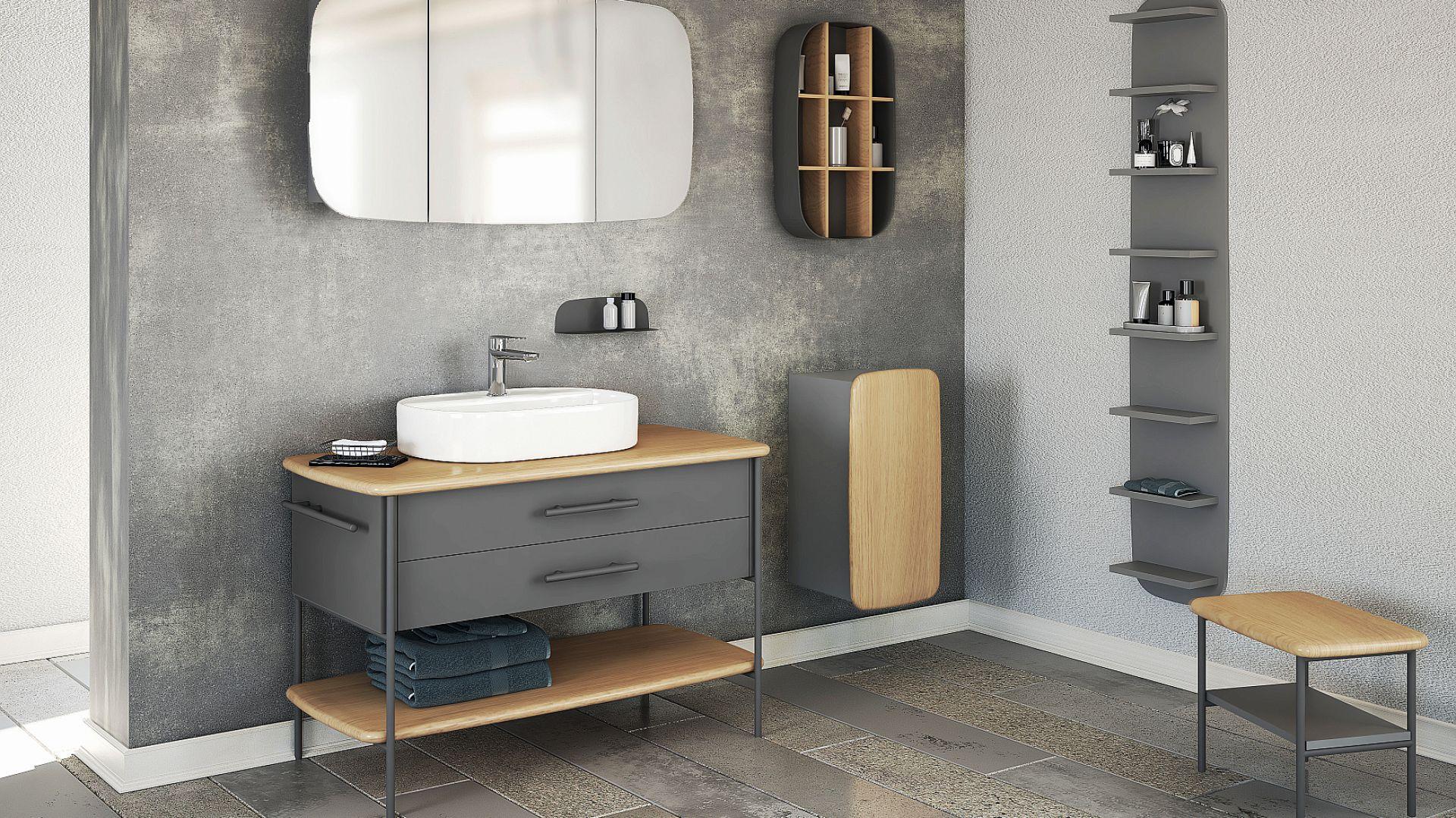 OVAL - serię wyróżnia charakterystyczny motyw przewodni formy z zastosowaniem różnych materiałów w połączeniu naturalnego drewna dębowego z metalowymi elementami malowanymi proszkowo. Fot. Devo