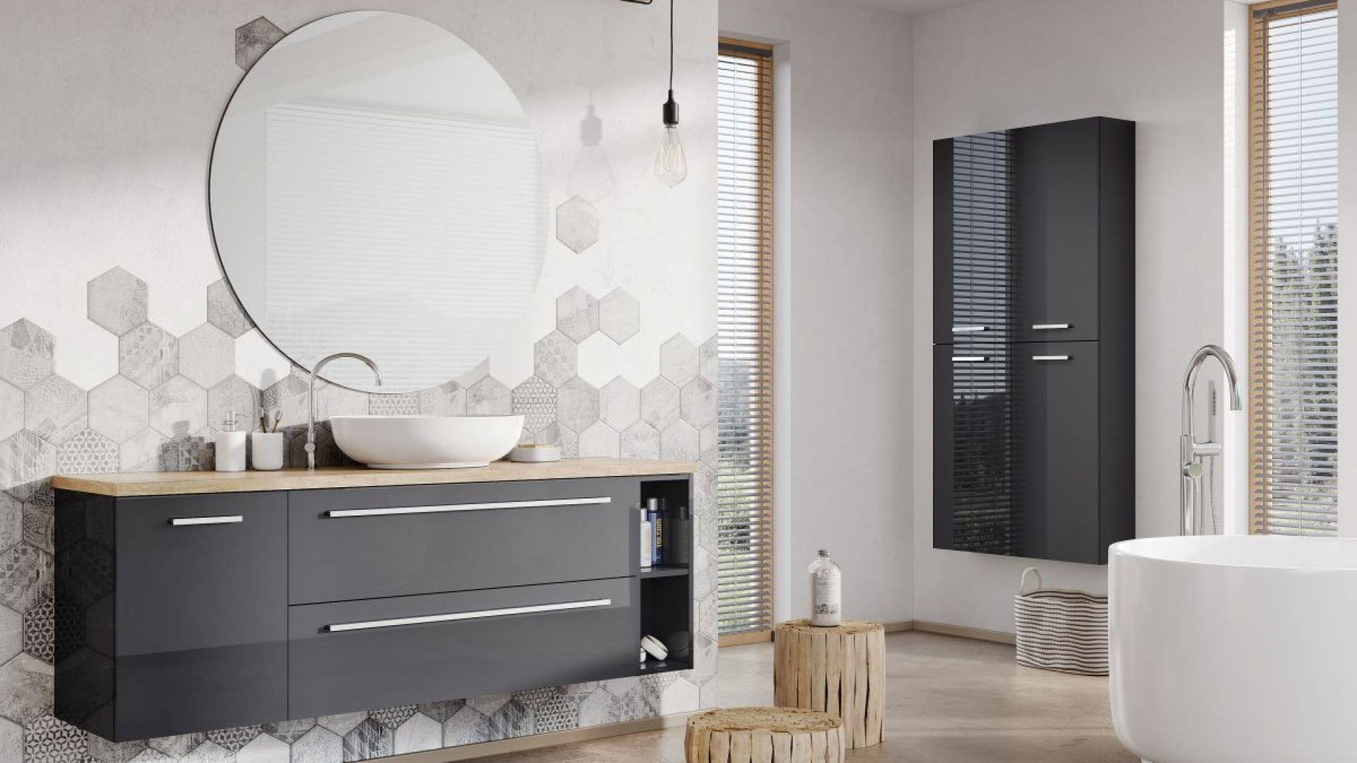 KWADRO - doskonale współgra z minimalistycznymi łazienkami gdzie ważna jest swoboda i przestrzeń. Fot. Elita