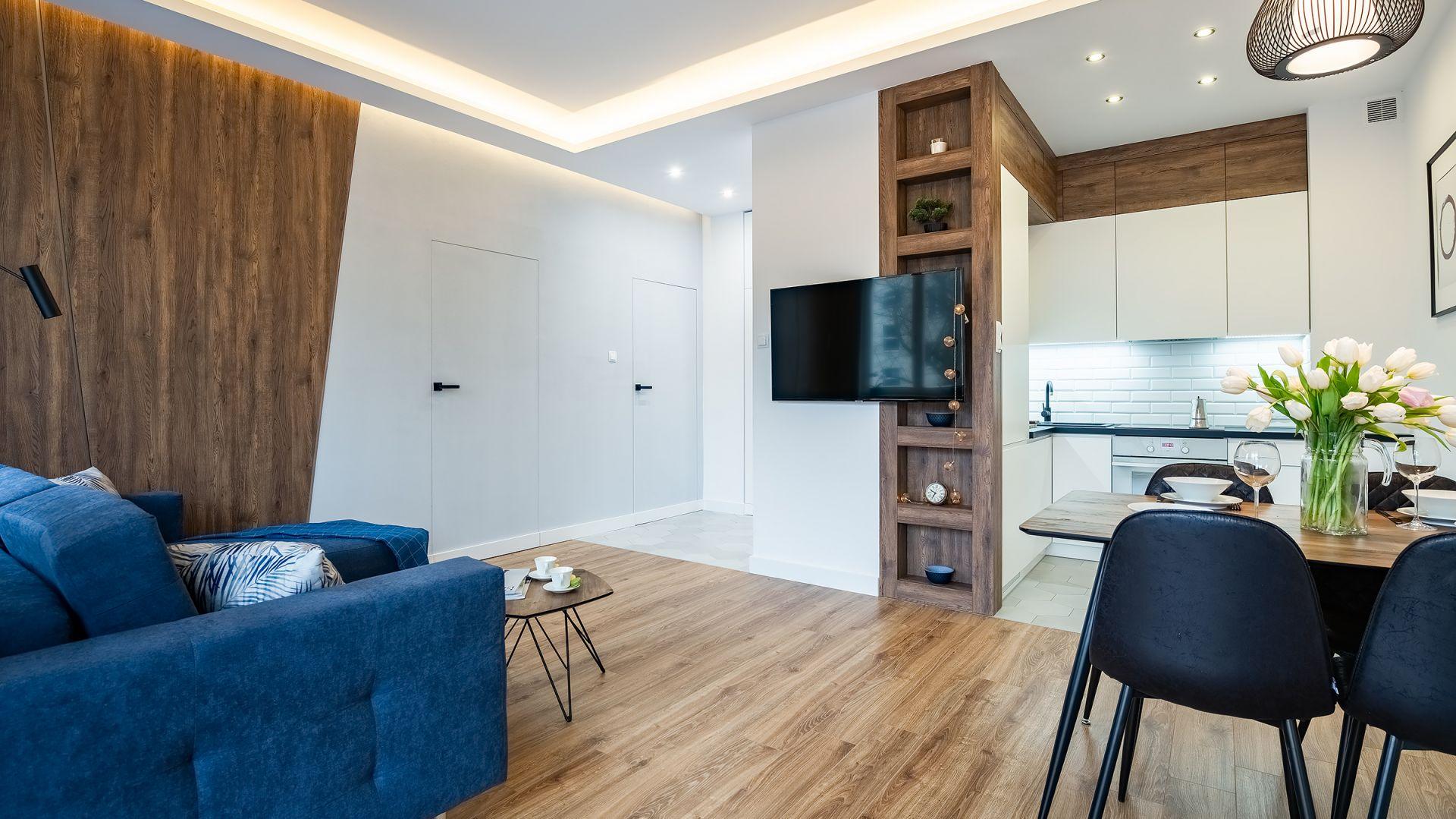 Oświetlenie w salonie. Projekt: Baransu – inwestycje w mieszkania na wynajem. Fot. Paweł Martyniuk