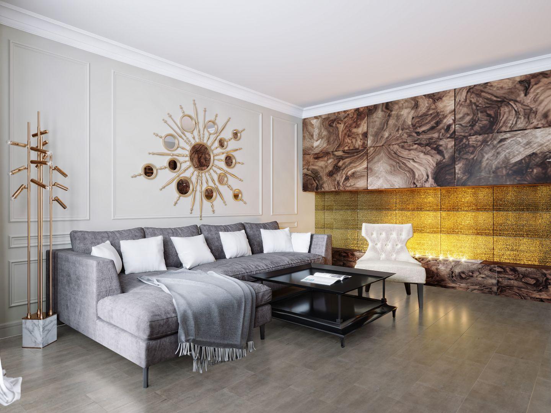 Dekoracyjne, pozłacane lustro i lampa stojąca w tym samym stylu to świetne ozdoby dla wnętrz art déco. Na zdjęciu: panele podłogowe Ceramin Vario Tadelakt. Fot. RuckZuck