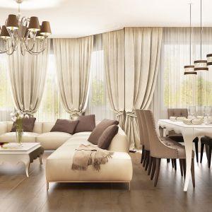 Aranżacje art déco cechuje elegancki wygląd. W jego osiągnięciu pomagają panele podłogowe Villa 4V Dąb Peoria. Fot. RuckZuck