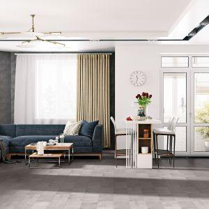 Na podłodze we wnętrzu urządzonym w stylu art déco mogą znaleźć się panele o betonowym dekorze, np. Villa 4V Beton. Fot. RuckZuck