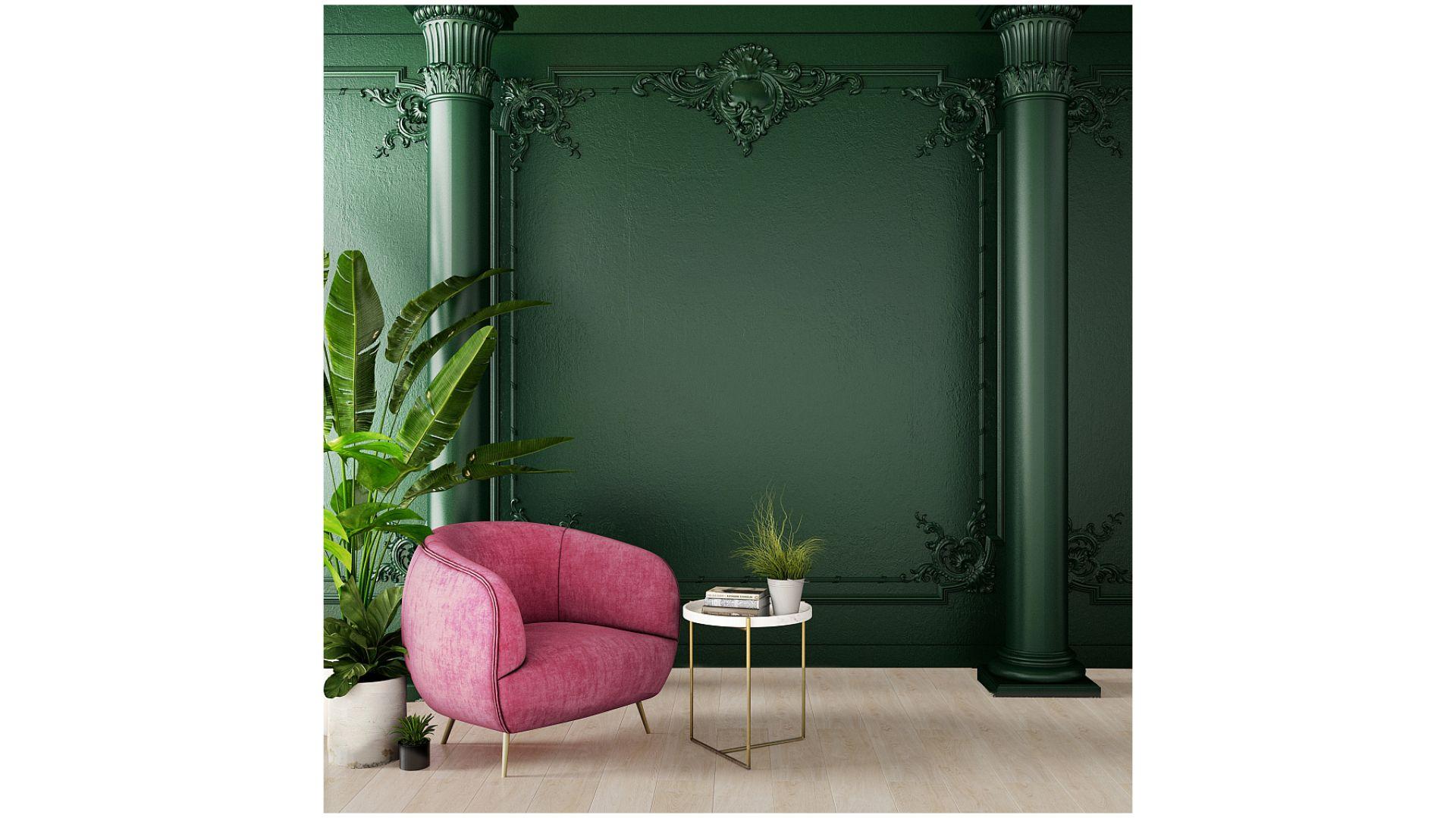 Urządzając wnętrze w stylu art déco warto sięgnąć po szmaragdową zieleń. Na zdjęciu panele podłogowe Authentic 8 Realistic Dąb Jasny. Fot. RuckZuck