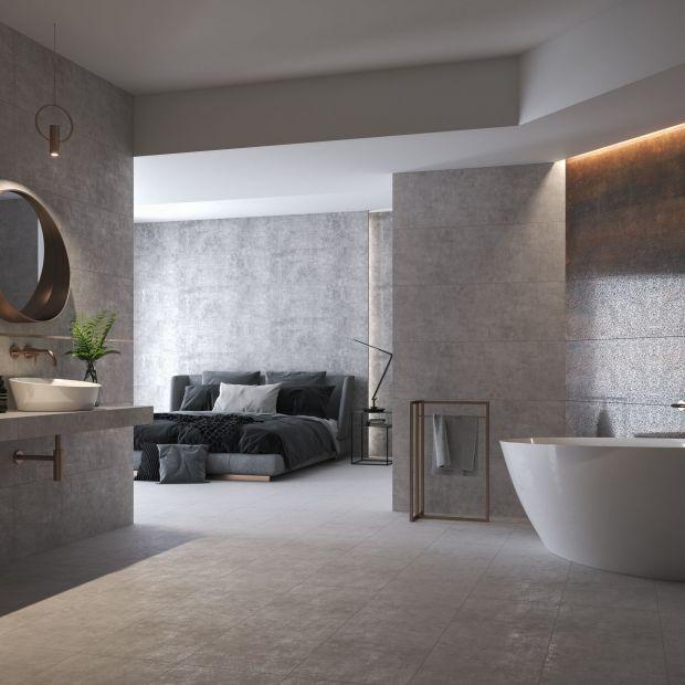 Modna łazienka - płytki jak beton