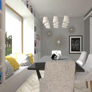 W jadalni znalazło się też miejsce na kącik wypoczynkowy Dom TK177. Projekt: arch. Tomasz Kałaska. Fot. Architeka Pracownia Architektoniczna