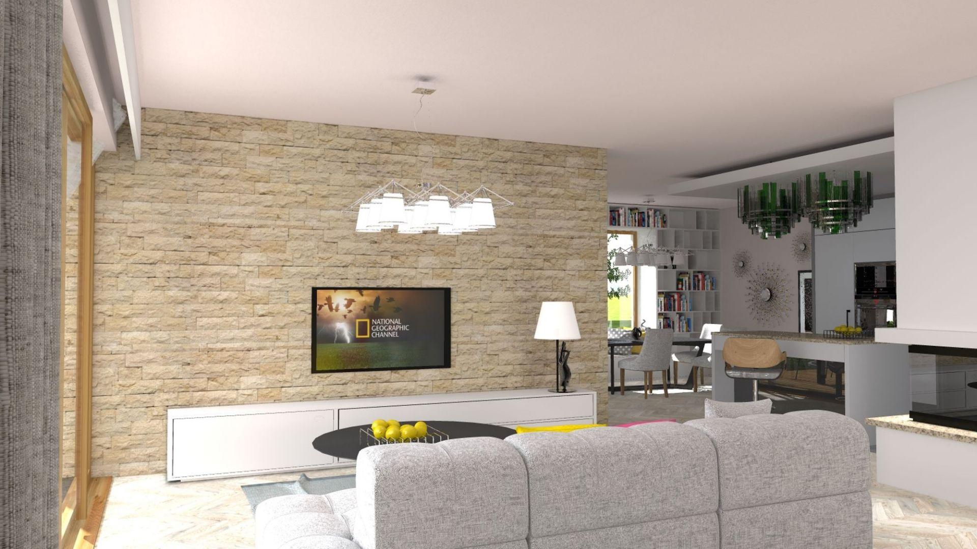 ściana telewizyjna została wykończona modnym kamieniem. Dom TK177. Projekt: arch. Tomasz Kałaska. Fot. Architeka Pracownia Architektoniczna