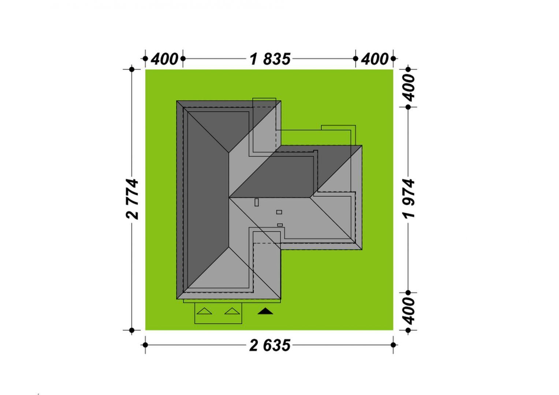 Usytuowanie domu na działce. Dom TK177. Projekt: arch. Tomasz Kałaska. Fot. Architeka Pracownia Architektoniczna