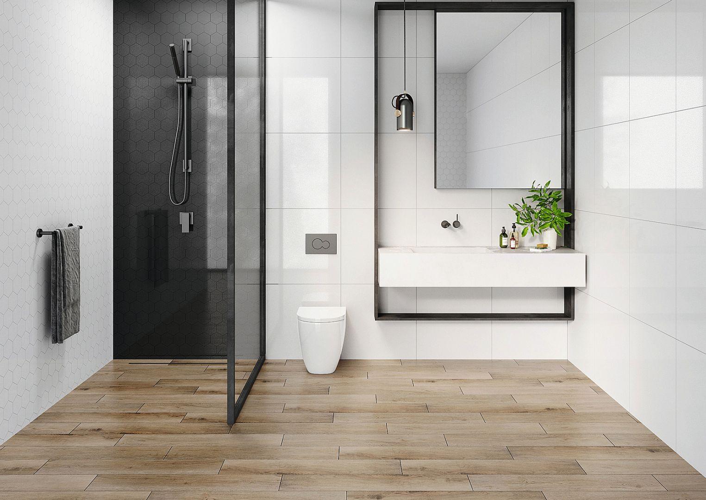 Nowoczesna łazienka. 30 pięknych kolekcji płytek ceramicznych. Białe płytki gresowe Cambia White. Fot. Cerrad