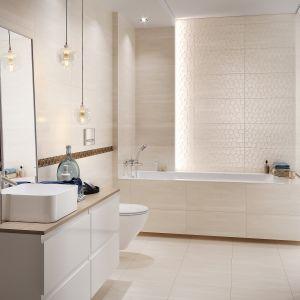 Nowoczesna łazienka. 30 pięknych kolekcji płytek ceramicznych. Kolekcja Calm Organic. Fot. Cersanit