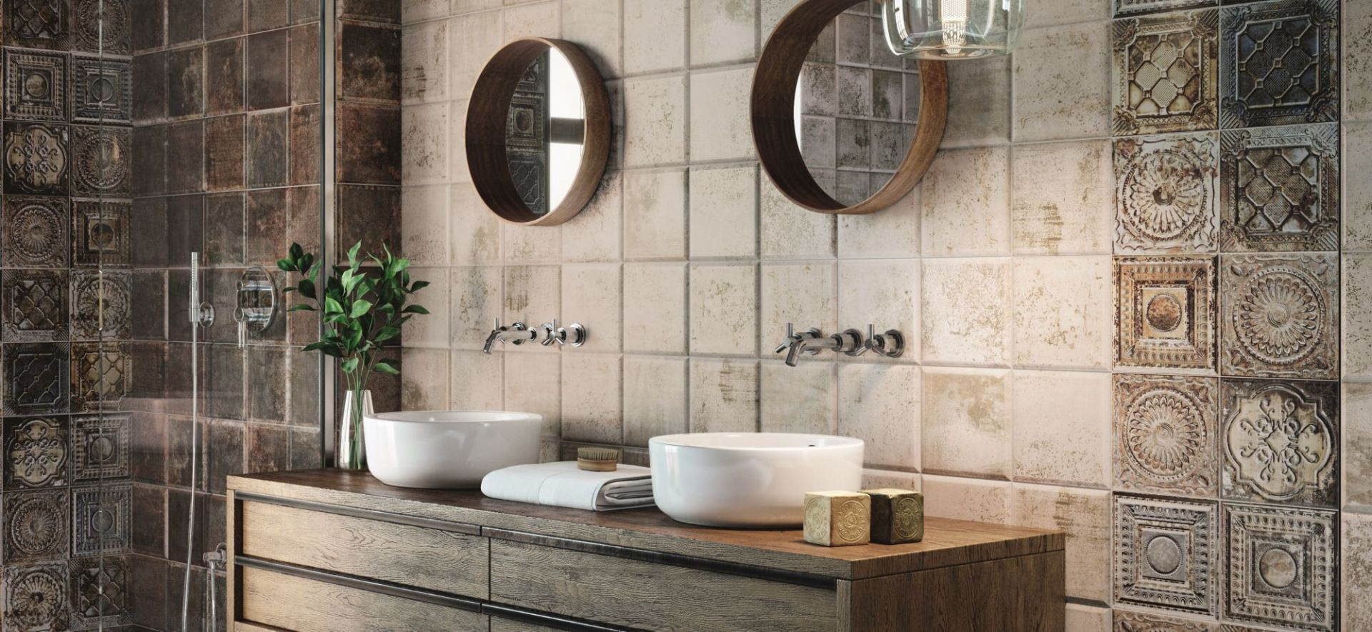 Nowoczesna łazienka. 30 pięknych kolekcji płytek ceramicznych. Mainzu, kolekcja Tin-tile. Fot. Mainzu