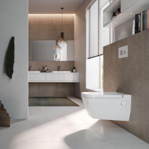 Innowacyjna toaleta myjąca TECEone ma wszystkie przyłącza ukryte, a sterowanie, czyli regulacja temperatury i ciśnienia wody, odbywa się wyłącznie za pomocą dwóch subtelnych intuicyjnych pokręteł. Fot. Tece