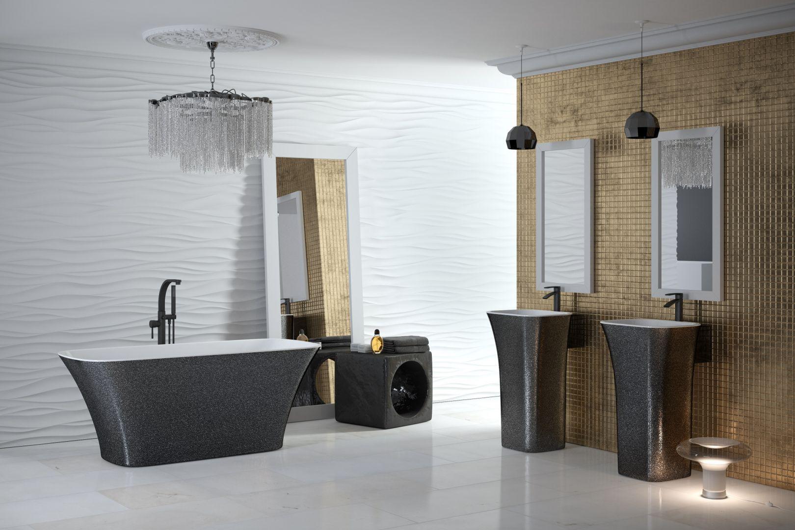 Wykonane z odlewu mineralnego umywalki wolnostojące z serii Assos dostępne są w wykończeniu Besco Glam w kolorach złotym, srebrnym i grafitowym. Fot. Besco