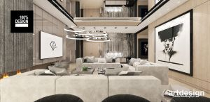 Aranżacja salonu w ciepłej kolorystyce. Projekt i wizualizacje: ARTDESIGN biuro projektowe