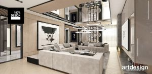 Luksusowa aranżacja salonu. Projekt i wizualizacje: ARTDESIGN biuro projektowe