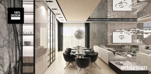 Salon z jadalnią. Projekt i wizualizacje: ARTDESIGN biuro projektowe