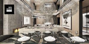 Designerskie wnętrze salonu połączonego z jadalnią. Projekt i wizualizacje: ARTDESIGN biuro projektowe