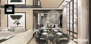 Projekt salonu z jadalnią. Projekt i wizualizacje: ARTDESIGN biuro projektowe