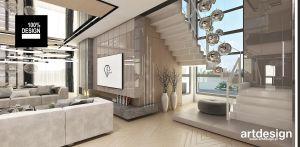 Projekt salonu i projekt schodów. Projekt i wizualizacje: ARTDESIGN biuro projektowe