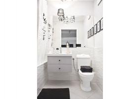 Mieszkanie w stylu skandynawskim - pokój łazienka. Projekt: Magdalena Miśkiewicz. Zdjęcia: Anna Powałowska