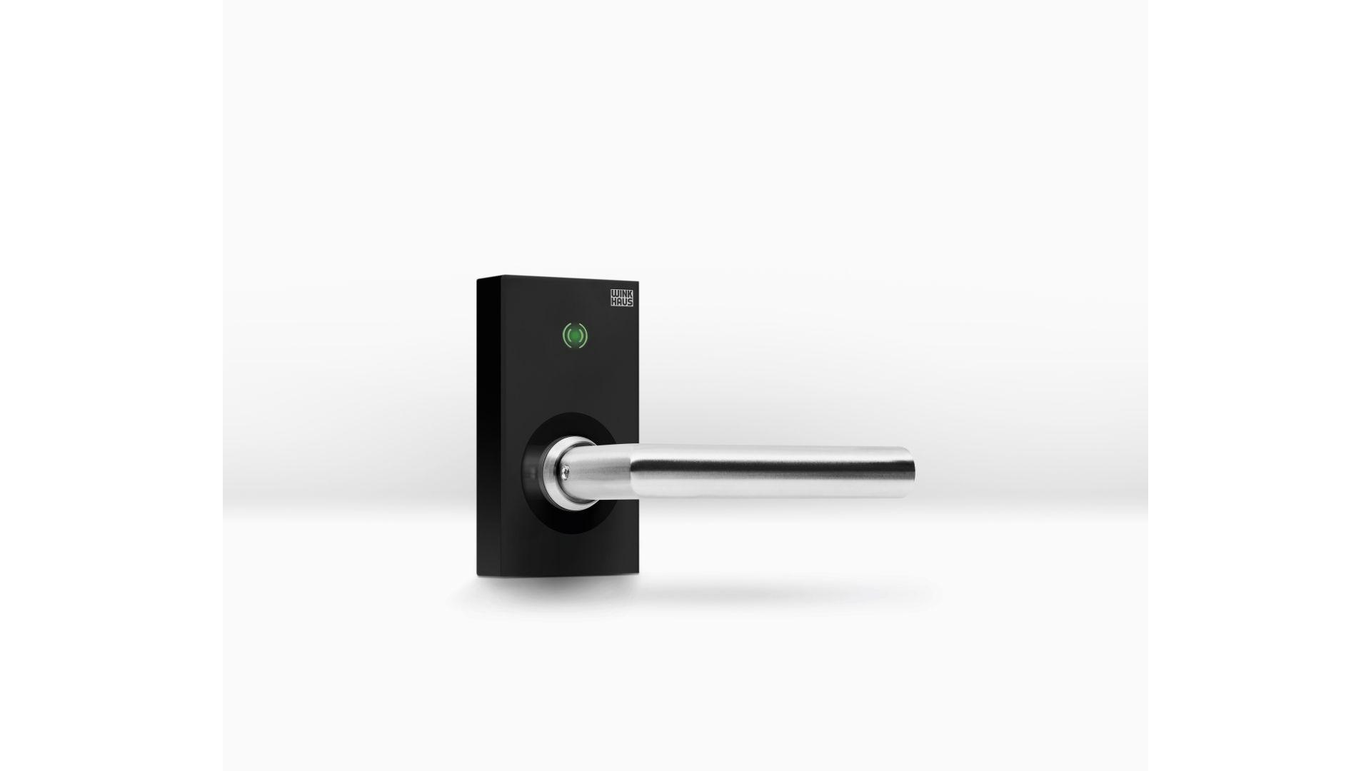 Klamka elektroniczna Winkhaus blueSmart ETB-IM do drzwi wewnętrznych/Winkhaus. Produkt zgłoszony do konkursu Dobry Design 2020.