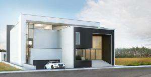 Przykład domu z garażem w bryle budynku. Projekt i wizualizacje: Marcin Sieradzki (BIAMS)