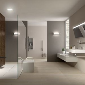 Lustra i meble łazienkowe z kolekcji Programma 400-ALU od PBA. Fot. PBA