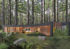 Wiodącym materiałem elewacyjnym są dwa typy drewna: shou sugi ban, czyli drewno wykończone ogniem, które idealnie komponuje się kolorystycznie z pniami okolicznych drzew. Projekt i wizualizacje: 3DPROJEKT architektura
