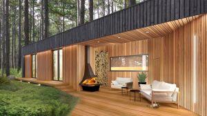 Kontrastuje z nim drewno w kolorze świeżej tarcicy, które architekci przewidzieli jako materiał wykończeniowy podcieni tarasowych od strony ogrodu, a także tarasów i strefy wejściowej. Projekt i wizualizacje: 3DPROJEKT architektura