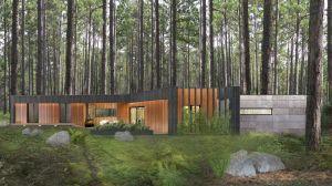 Okazały i rozłożysty dom od frontu prezentuje się minimalistycznie. Parterowa bryła doskonale wpisuje się w pagórkowaty krajobraz – można powiedzieć, że jest wręcz trudna do zauważenia. Projekt i wizualizacje: 3DPROJEKT architektura