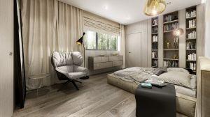 Wyjątkową oprawę okien stanowią tkaniny. Architekci zdecydowali się na użycie materiałów naturalnych o wyraźnym splocie i mocno udrapowanych, które w połączeniu z drewnianą podłogą podkreślają ciepły rodzinny charakter domu. Projekt i wizualizacje: 3DPROJEKT architektura
