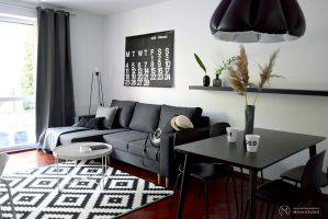 60-metrowe mieszkanie położone blisko centrum Gdyni miało zostać przygotowane pod wynajem krótkoterminowy. Projekt: MAKA Studio.