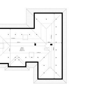 Rzut strychu. Dom Willa parterowa 2. Projekt: arch. Michał Gąsiorowski. Fot. MG Projekt