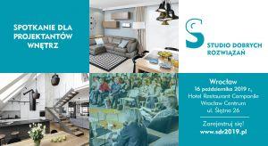 Kolejne jesienne spotkanie z cyklu Studio Dobrych Rozwiązań odbędzie się 16 października we Wrocławiu. Zapraszamy projektantów i architektów, zainteresowanych najnowszymi rozwiązaniami i produktami do wnętrz. Spotykamy się w hotelu Campanile Wr