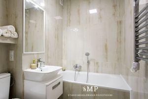 Elegancka łazienka. Mała łazienka. Projekt i zdjęcia: Marzena Pieńkowska (Studio Modelowania Przestrzeni)