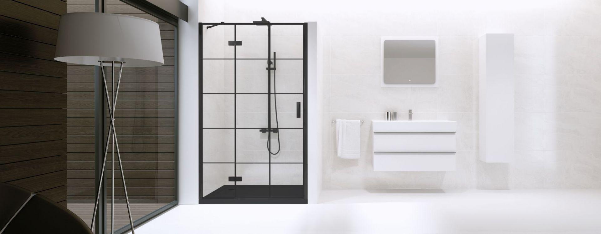 Nowoczesna łazienka - drzwi New Renoma Black. Fot. New Trendy