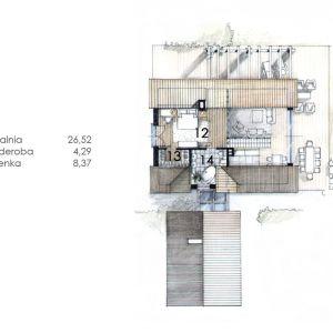 PODDASZE: 39,18 m2 1. sypialnia – 26,52 m2 2. garderoba – 4,29 m2 3. łazienka – 8,37 m2 Dom N11 – z sypialnią na antresoli. Projekt: arch. Sylwia Strzelecka. Fot. S&O Projekty Sylwii Strzeleckiej