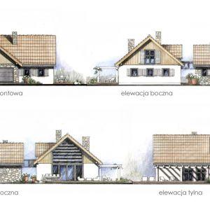 Widoki elewacji. Dom N11 – z sypialnią na antresoli. Projekt: arch. Sylwia Strzelecka. Fot. S&O Projekty Sylwii Strzeleckiej
