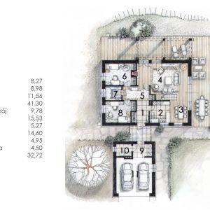 PARTER: 157,46 m2 1. sień – 8,27 m2 2. kuchnia – 8,98 m2 3. jadalnia – 11,56 m2 4. salon – 41,30 m2 5. przedpokój – 9,78 m2 6. pokój – 15,53 m2 7. łazienka – 5,27 m2 8. pokój – 14,60 m2 9. korytarz – 4,95 m2 10. kotłownia – 4,50 m2 11. garaż – 32,72 m2 Dom N11 – z sypialnią na antresoli. Projekt: arch. Sylwia Strzelecka. Fot. S&O Projekty Sylwii Strzeleckiej