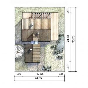 Usytuowanie domu na działce. Dom N11 – z sypialnią na antresoli. Projekt: arch. Sylwia Strzelecka. Fot. S&O Projekty Sylwii Strzeleckiej
