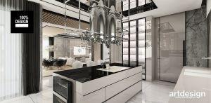 Luksusowa kuchnia w stylu nowoczesnym. Projekt i wizualizacje: ARTDESIGN biuro projektowe