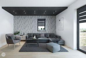 Przestrzeń dzienna w jednorodzinnym domu - część wypoczynkowa. Projekt i wizualizacje: Magdalena Miszczyk-Tatara.