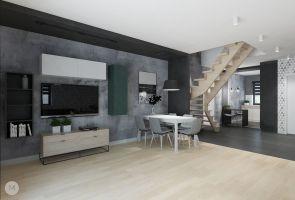 Otwarta przestrzeń dzienna na parterze domu jednorodzinnego liczy 50 m kw. Projekt i wizualizacje: Magdalena Miszczyk-Tatara.