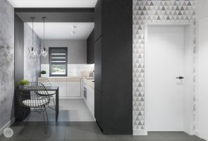 Przestrzeń dzienna w jednorodzinnym domu - aneks kuchenny. Projekt i wizualizacje: Magdalena Miszczyk-Tatara.