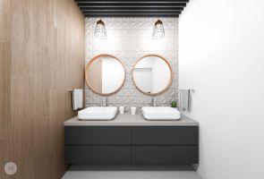 Łazienka to wnętrze pełne kontrastów i połączeń różnych faktur. Projekt i wizualizacje: Magdalena Miszczyk-Tatara.
