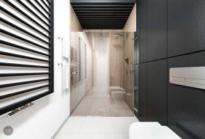 Na jednej ze ścian łazienki architektka zaaranżowała przestronną kabinę natryskową. Projekt i wizualizacje: Magdalena Miszczyk-Tatara.