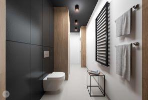 Długa, wąska łazienka została czytelnie podzielona na strefy. Projekt i wizualizacje: Magdalena Miszczyk-Tatara.