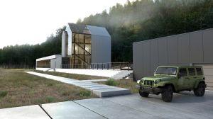 Nowoczesna willa z basenem - projekt domu jednorodzinnego. Projekt i wizualizacje: Marcin Sieradzki (BIAMS)