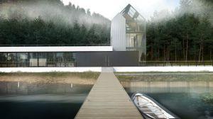 Połączenie budynku z dachem płaskim i z dachem dwuspadowym bezokapowym. Projekt i wizualizacje: Marcin Sieradzki (BIAMS)